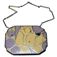 Vintage Art Deco Enameled Necessaire/Powder Compact w/Chain