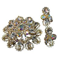 Shimmering Massive Layered Juliana DeLizza & Elster Rhinestone Brooch & Earrings