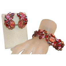 GLAMOROUS Kramer of New York Art Glass Cabachon Rhinestone Bracelet & Earrings!