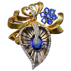 Enormous Art Deco Era Unsigned Reja Stylized Leaf Brooch Inset Sparkling Rhinestones!