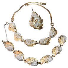 RARE Signed Reja Rhinestone Embedded Necklace, Bracelet, Earrings and Brooch!