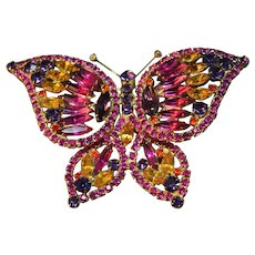 AMAZING Colorful Large Juliana DeLizza & Elster Rhinestone Figural Butterfly Brooch!