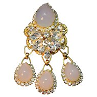 EXQUISITE Juliana D&E High Domed Cabochon/Rhinestone Dangle Brooch/Pendant Combo!