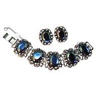 SIZZLING Designer Signed  Iridescent Huge Cabochon Elizabeth Morrey Wide Bracelet & Earring Set!