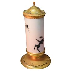 SUPERB Art Deco Devilbiss Dancing Fairy Decorated Perfume Lamp - Complete!