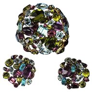 Large Rhinestone Signed Schreiner NY SPECTACULAR Colors Brooch & Earrings Set