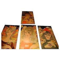 Original Mid Century Modern Italian 4 Seasons Signed Michi Lady Portrait Wood Plaques