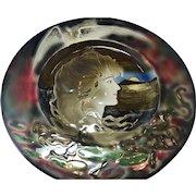 Huge Art Nouveau Lady Art Pottery Majolica Glaze Germany CICO Charger! Summer
