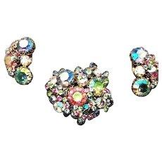 LUSCIOUS Hattie Carnegie Pastel Rhinestone Iridescent Brooch & Earring Set!