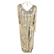 Sophisticated All Over Sequin Gold & Silver w/Beaded Fringe MAGNIFICENT Dress!