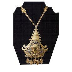 MASSIVE Pauline Rader Vintage Asian Motif Dangle Necklace (Quan Yin Chain)