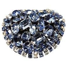 Sky Blue & Crystal Baguette Rhinestone Encrusted Enormous Vintage Brooch