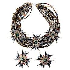 """Vintage Jay Feinberg Multi Strand """"Jeweled"""" & Enameled Necklace & Earring Set"""