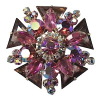 RARE Triangle Juliana DeLizza & Elster Layered Iridescent Pink Rhinestone Brooch