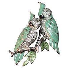 RARE Boucher Enameled Figural Pair of Cockatoos/Parrots! Rhinestone Fur Clip/Pin