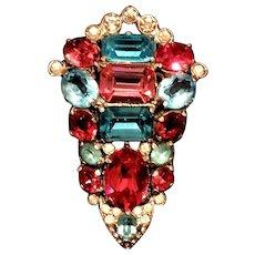 BRILLIANT Eisenberg Original Aqua & Rose Pink Rhinestone Vintage Fur Pin