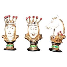 Extremely Rare Alfred Philippe Crown Trifari Enameled 3 Piece Chess Set Fur Pins