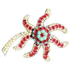 Reja Sterling Silver Rhinestone Embedded & Turquoise Bead Star Flower Brooch!