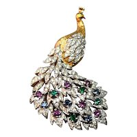 RARE Panetta Magical Figural Peacock Brooch Embedded with Rhinestones!