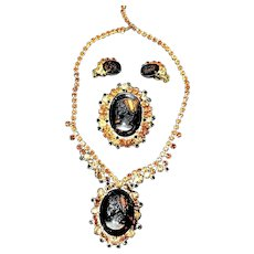 Gorgeous vintage Juliana D&E Cameo & Rhinestone Necklace, Brooch and Earrings!
