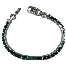 RARE Crown Trifari Alfred Philippe Invisibly Inset Emerald Rhinestone Bracelet