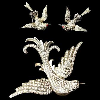 FABULOUS Sterling Flying Birds  Inset Figural Brooch & Earrings!