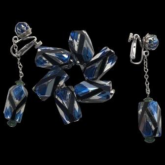 RARE Pinwheel Geometric Pattern Crystal Vendome Unusual Brooch & Earring Set
