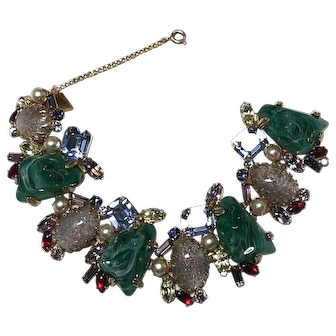 DECADENT Alice Caviness Vintage Flawed Emerald Stone/Rhinestone Bracelet