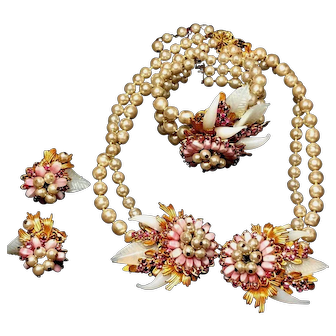 Miriam Haskell Original Necklace, Bracelet & Earrings Pink Flowers, Poured Opalescent Glass Leaves