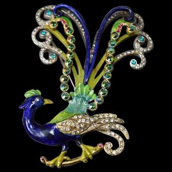 Enameled Large Vintage Figural Peacock Brooch w/Rhinestones!