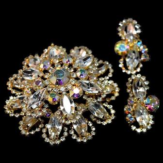 Shimmering Massive Halo Juliana DeLizza & Elster Rhinestone Brooch & Earrings