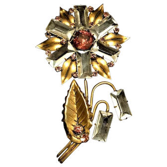 SUPERB Sterling Silver Gold Wash Figural Flower Brooch Large Baguette Crystals