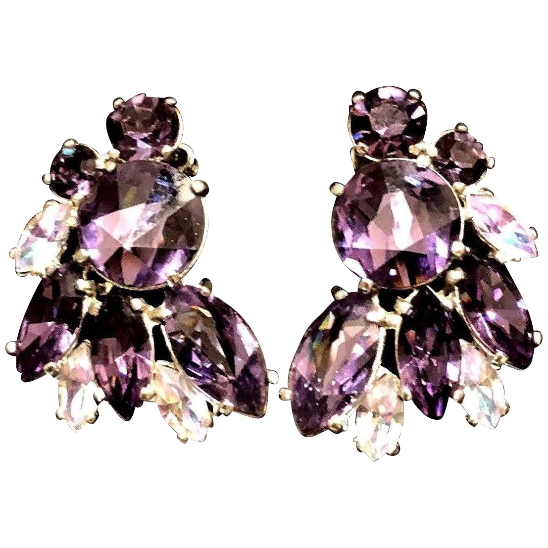 Large Iridescent Purple Marquis Glass Clip Earring