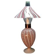 Rare Italian Latticino Ribbon Art Glass All Original Electric Lamp w/Shade!
