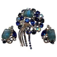 Aqua Blue Striped Stone & Rhinestone Juliana D&E Brooch & Earring Set!
