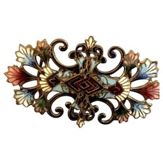 Vintage Egypian Revival Exquisitely Enameled Incredibly Detailed Belt Buckle 20'