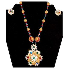 MAGNIFICENT Vintage Signed Miriam Haskell Crystal/Rhinestone Necklace/Earrings!