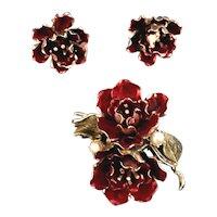 Coro Camella Figural Flower Enamelled Brooch & Earring Set Rhinestones