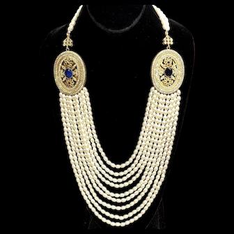 GORGEOUS Lustrous Simulated Pearl Festoon Drape Necklace w/Rhinestone Medallions