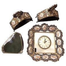 Vintage Huge Italian Ornate 6 Piece Brass Dresser Set Porcelain Insets & Matching Clock!