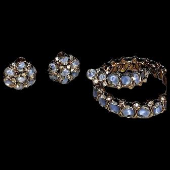 Vintage Signed Hattie Carnegie Blue Givre Rhinestone Bracelet/Earrings/Brooch