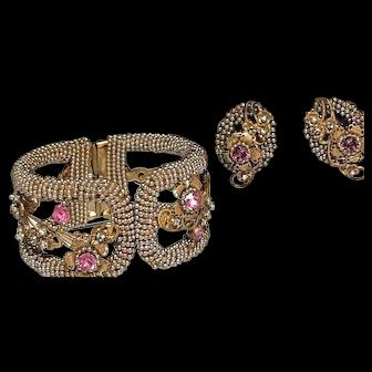 Vintage Miriam Haskell Bead Covered Rhinestone Inset Hinged Bracelet & Earrings!