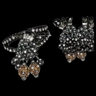 Gorgeous Dangling Rhinestone Beads Japanned Metal Vintage Bracelet & Earrings