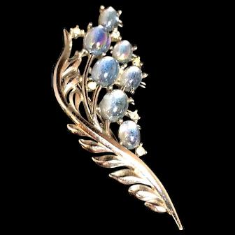 Crown Trifari Iridescent Aqua Blue Cabochon Rhinestone Inset Brooch
