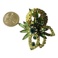 Gorgeous Juliana DeLizza & Elster Layered Dimensional Brooch Green Navettes!