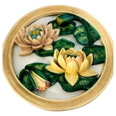 Ceramic Waterlily Mid Century Modern Huge Ceramic Dimensional Wall Hanging
