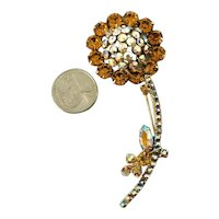 Large Juliana DeLizza & Elster Iridescent Rhinestone Figural Flower Brooch