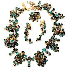 "Exceptional Oscar de la Renta Rhinestone ""Tube"" Cluster Necklace, Earrings, Ring"