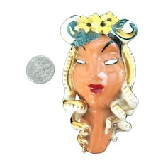 Copo De Oro 1940s Ceramic Victim Of Fashion California Lady's Head Brooch!