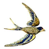 Vintage Unmkd CORO Trembler Winged Enameled & Rhinestone Swallow Bird Brooch